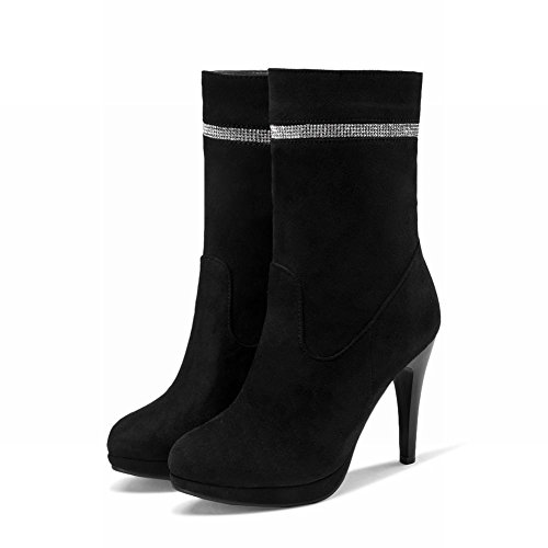 Fashion Carolbar Elegance Dress Stiletto Womens Charms Black Boots Zipper High Rhinestone Heel Bq4Sq1Zg