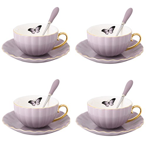 ARTVIGOR 12-Piece Gold Rimmed Wave-Shaped Coffee and Tea Sets for 4, New Bone China Espresso Cup Sets with Saucers and Spoons, Light Purple ()