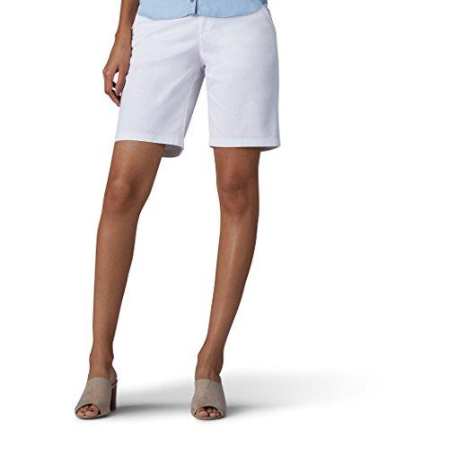 (LEE Women's Straight Fit Tailored Chino Bermuda Short, White, 8)
