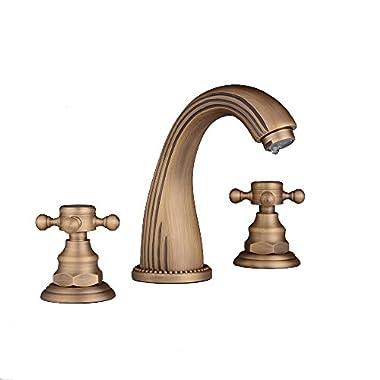 Beelee Antique Brass Deck Mounted Three Holes Dual Handle Widespread Bathroom Sink Faucet