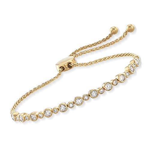 Ross-Simons 1.00 ct. t.w. Bezel-Set Diamond Bolo Bracelet in 18kt Yellow Gold Over ()