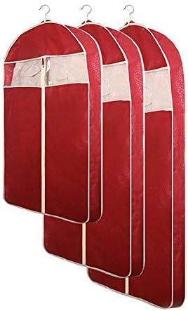 洋服カバー 衣類カバー 防塵 防湿 防カビ 収納用品 旅行や衣料品の保管のための6つの不織布衣服バッグスーツバッグのセットシャツコートジッパーと透明な窓が含まれています2 * Lサイズ+ 2 * Mサイズ+ 2 * Sサイズ (Color : Red, Size : L+M+S)