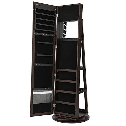 SONGMICS 360° Rotatable Jewelry Organizer Cabinet Armoire, Lockable, Higher Mirror, Brown -
