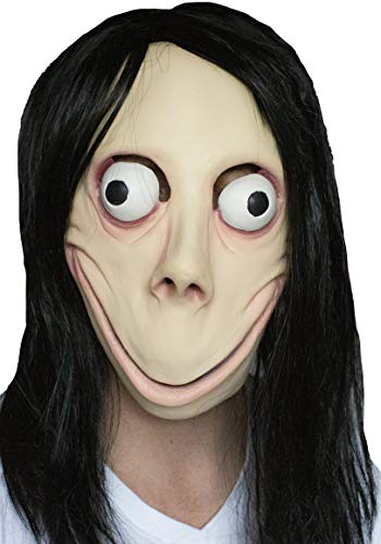 MOMO Scary MASK Halloween Props - Creepy Horror Latex Realistic Full Head with Wig Cosplay Costume Mask Party Decoration - Costume Masks Hair Scary