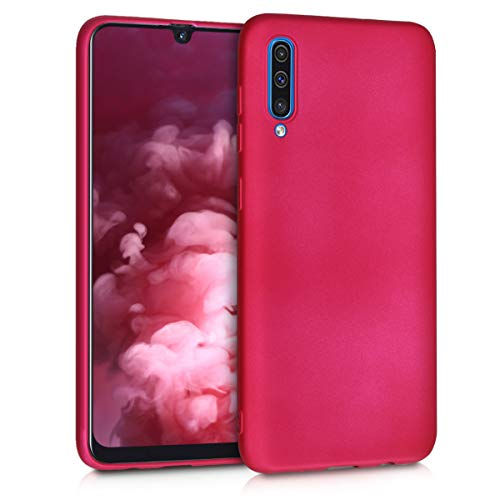 (kwmobile TPU Silicone Case for Samsung Galaxy A50 - Soft Flexible Shock Absorbent Protective Phone Cover - Metallic Pink)