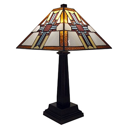 Lamp Cross Design By Warehouse of Tiffany Hand Cut Stained Glass ()