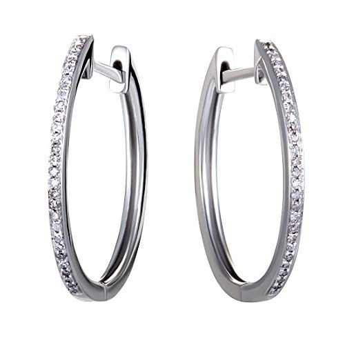 14K White Gold Channel Set Diamond Hoop Huggies Earrings .10 Carat (0.10 ctw) Diamonds ()