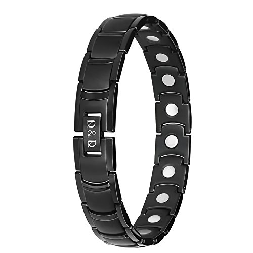 Arthritis Bracelet Health Care Gift,Pure Titanium Pain Anxiety Relief Magnetic Therapy Bracelet for Carpal Tunnel,Adjusting Tool Included #03 Black(3 Colors Available)