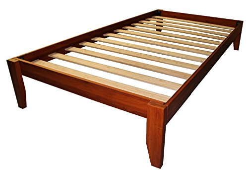 Epic Furnishings Stockholm Solid Wood Bamboo Platform Bed Frame, Twin-size, Walnut (Contemporary Walnut Bed)