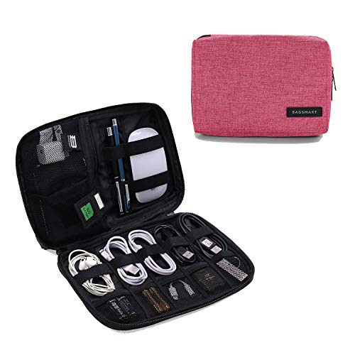 BAGSMART Small Travel Electronics Cable Organizer Bag for Hard Drives, Cables, Charger, Pink