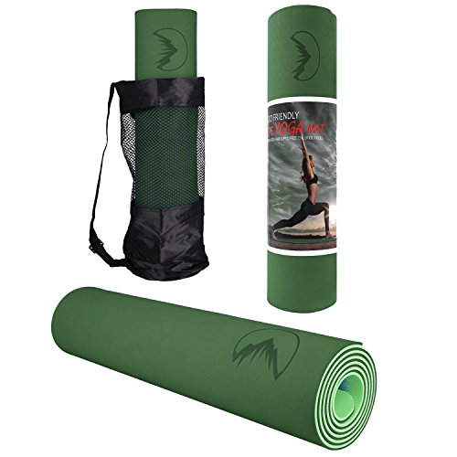Lhotsex 1/4-Inch Non Toxic Non-Slip Yoga and Exercise Mat With Carrying Strap (Dark green)