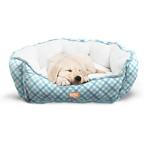 "Animal Planet Round Plush Micro Suede & Sherpa Bolster Pet Bed for Dogs & Cats, Puppies, and Small & Toy Breeds; Cuddly and Warm for Burrowing and Snuggling, Easy-to-Clean 24""x 17""x 9"" Gingham ()"
