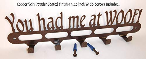 Dog Leash Holder. You Had Me at WOOF. Copper Vein Finish. 14.25 inch Wide. Handmade in USA.