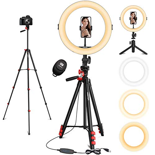 """11"""" Ring Light, L8star Selfie Led Ring Light with 51"""" Extendable Tripod Stand and Flexible Cell Phone Holder for Live Stream, YouTube Video, TIK Tok Lights"""