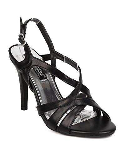 DbDk FA95 Women Leatherette Open Toe Strappy Stiletto Slingback Sandal - Black (Size: 9.0) (4 Inch Stiletto Heel Slingback Sandal)