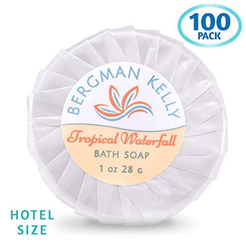 BERGMAN KELLY Travel Soap Bars in Bulk (1 Oz, 100 PK, Tropical Waterfall), Hotel Size Cleasing Bar Soap; Small Individually Wrapped Soap Hotel Toiletries Travel Size for AirBnB, Motel, Guest Bathroom