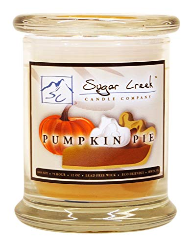 - Sugar Creek | Pumpkin Pie Soy Scented Candle - Fall Candles Collection | 100% Natural - Non Toxic | 12 oz Heavy Glass Jar