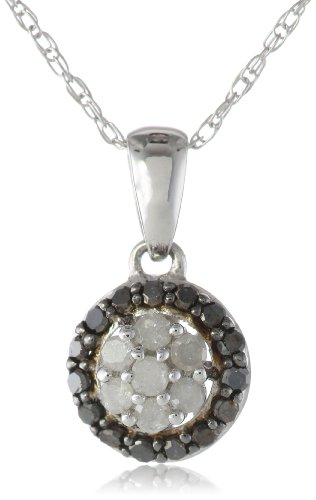 10k White Gold Black and White Diamond Fashion Pendant Necklace (.25 cttw, H-I Color, I2-I3 Clarity), 18″