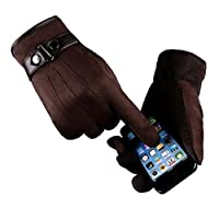 Ikevan Luxurious Mens Touch Screen Smartphone Gloves Warm Thick Faux Suede Full Finger Gloves Mittens Solid Color for Motorcycle Outdoor Driving Sports