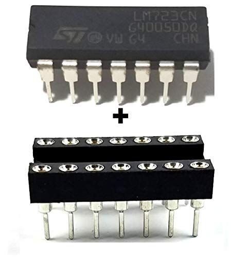 STMicroelectronics LM723CN Adjustable Linear Regulator 2V to 37V DIP-14 & DIP Socket with Machined Round Contact Pins Holes 2.54mm Breadboard-Friendly (Pack of 1)