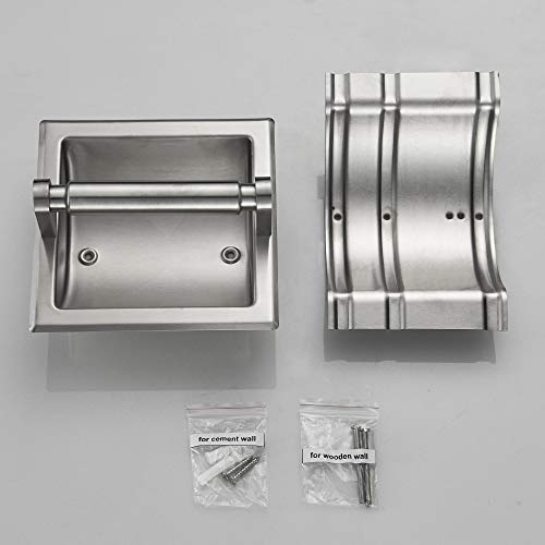 JunSun Brushed Nickel Recessed Toilet Paper Holder Tissue Paper Roll Holder All Stainless Steel Construction - Rear Mounting Bracket Included by JunSun (Image #6)