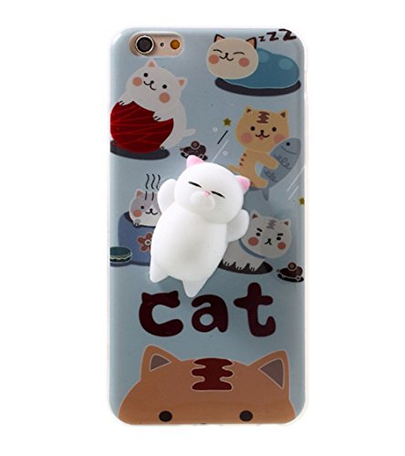 Squishy phone Case for iphone 5 5s SE 3D Cute Pinch Toy Soft Cover for iphone 5/5S/SE by One button,Easy cleaning Suitable for long time kneading (lovely cat)