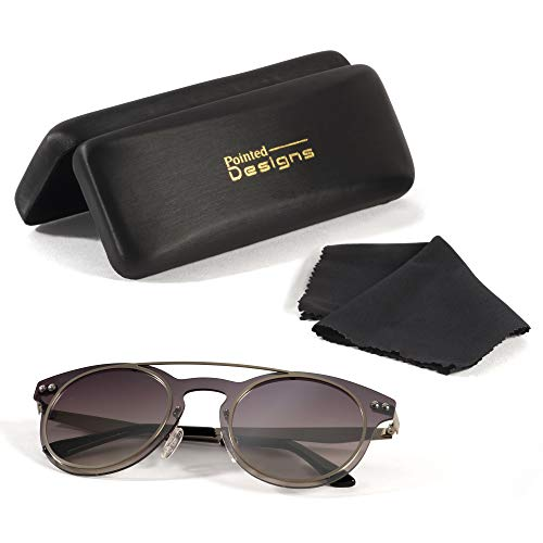 Sunglasses - Premium Round Polarized Sunglasses with Case and Cloth - by Pointed Designs by Pointed Designs