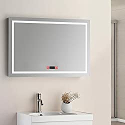 Elegant 48 W x 24 H Backlit LED Bathroom Mirror Wall Mounted Led Lighted Vanity Mirror with Touch Switch, Time Clock Included
