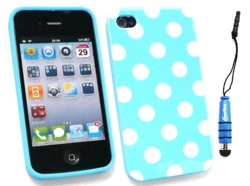 Emartbuy ® Stylus Pack Für Apple Iphone 5 5G Blue Metallic Mini Stylus + Lcd Screen Protector + Blue / White Polka Dots Gel Skin Cover / Case