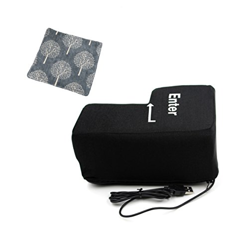 Big Enter Key Throw Pillows with USB Office Stress Relief Vent Noon Break Doll Toy