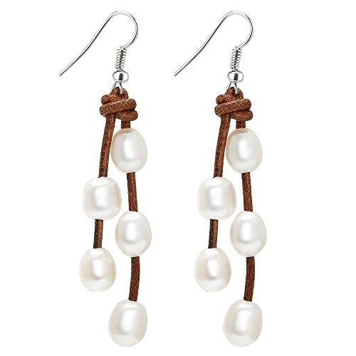 Rice Pearl Hook Earrings (White Pearl Beads Dangle Pearl Earrings Handmade Genuine Leather Pearl Drop Earrings Hypoallergenic)