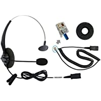 DailyHeadset Corded Office Phone Headset include RJ9 bottom cord for Yealink Grandstream Snom Huawei Panasonic IP Phone Corded Landline Telephones