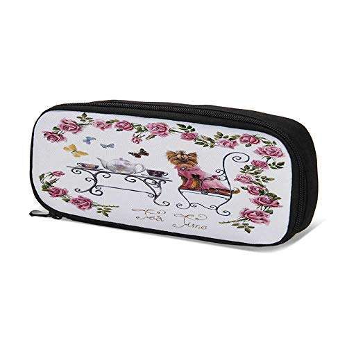 (Yorkie Durable Pen Bag,Yorkshire Terrier in Pink Dress Having a Tea Party Tea Time Butterflies Roses Decorative for School,9.4