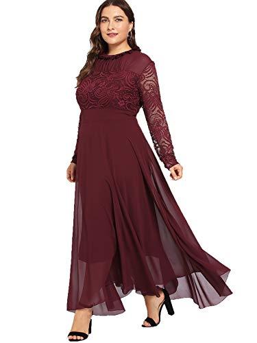 - Milumia Women's Vintage Floral Lace Long Sleeve Ruched Neck Flowy Long Dress Burgundy-Plus Size 0XL