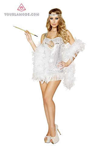 [Roma Costume 2PC Femme Fatale Flapper Costume Bundle with Pink Shorts] (Femme Fatale Halloween Costume)