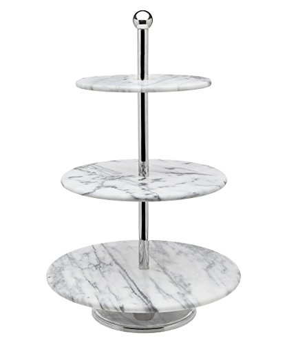 Tier Marble Server Cake Stand, 12.00L x 12.00W x 19.10H, Off-white ()