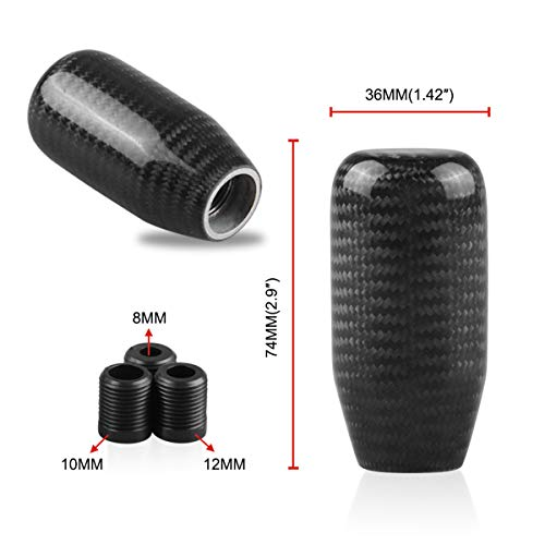 MASO Carbon Fiber Shift Knob Car Gear Knob Universal 5 Speed 6 Speed Carbon Fibre Shift Knob Gear Shifter Stick Cover
