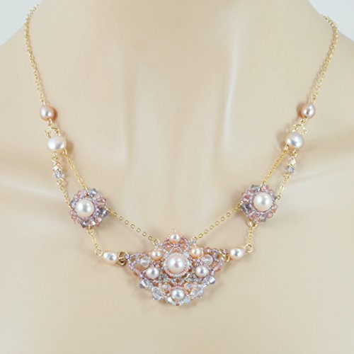 Dainty Necklace with Cultured Freshwater Blush Pearls, Long Backdrop Handcrafted in 14K Gold Filled