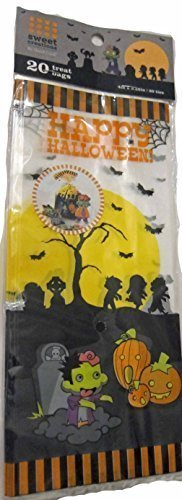 [Sweet Creations Happy Halloween Graveyard Candy Treat Bags, 20 Count with Ties] (Halloween Sweet Bags)
