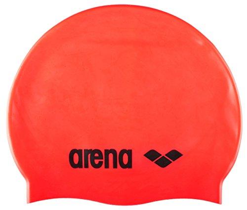 arena Unisex Badekappe Classic Silikon (Verstärkter Rand, Weniger Verrutschen der Kappe, Weich), Fluored-Black (40), One Size