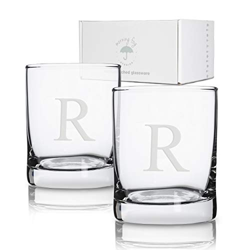Personalized Glassware - Personalized Scotch Whiskey Glasses Set of 2, Old Fashioned Barware Glassware with Sandblasted Monograms, 7.75 oz Capacity Each (R)