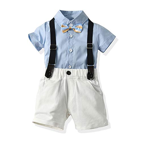 xirubaby Toddler Boys 2 Pieces Gentleman Blue Shirt+Suspenders Pants Clothing Set Outfit(70/6-12 Months,Sky)]()