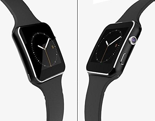 X6 curvo pantalla elegante reloj GSM teléfono Bluetooth FM para Samsung iPhone (Black)