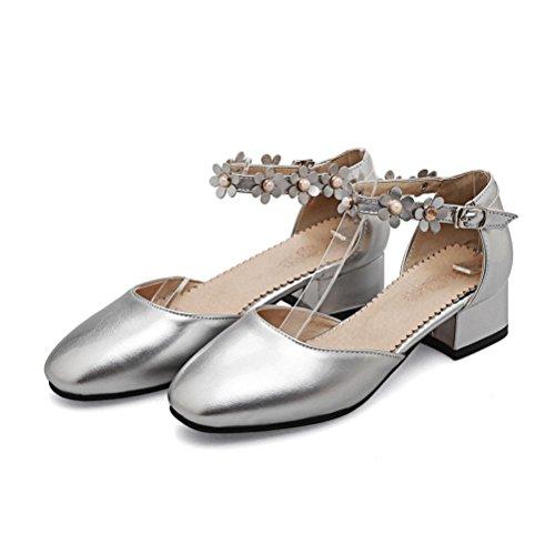 gran hebilla QPYC la de Las tacón sandalias 48 hueca mujeres 31 tamaño bajo de baja áspero Silver correas flores boca tacón 1wPaq1Yxr