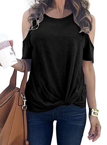 SLIMMING GRIL Womens Tunic Tops Summer Loose Twist Knot Plus Size Tee Shirt Vacation Black XXL (Maternity Plus Size Clothes)