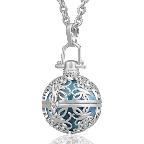 AEONSLOVE Silver Retro Chime Bell Harmony Ball Necklace Cage Pendant for Women, 30'' Long Chain ()