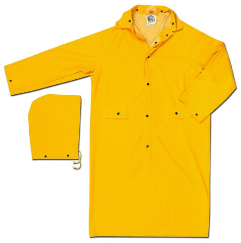 MCR Safety 200CS 49-Inch Classic PVC/Polyester Coat with Detachable Hood, Yellow, Small (Polyester Raincoat Yellow)