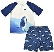 TONY HAWK 2-Piece Boys Swim Trunks and Protective Rash Guard Swim Shirt