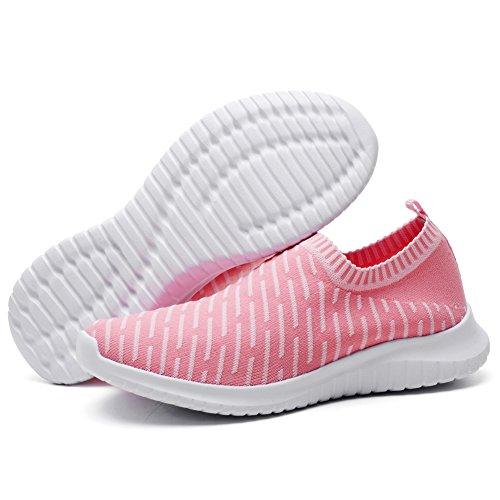 Tiosebon Unisex Avslappnad Lätta Skor Slip-on Walking Kör Sneakers 2108 Rosa