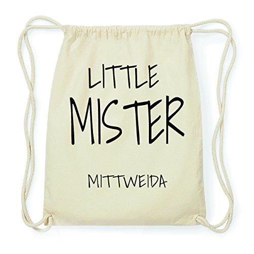 JOllify MITTWEIDA Hipster Turnbeutel Tasche Rucksack aus Baumwolle - Farbe: natur Design: Little Mister